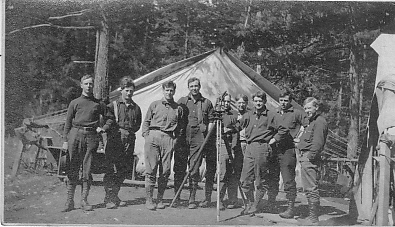 """The survey crew after the strike"", probably Kachess River c1908"