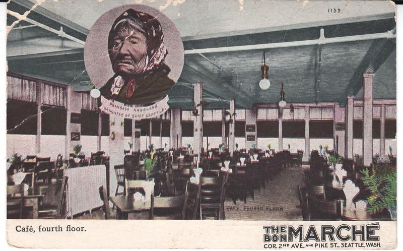Bon Marche postcard, 1908, photo side