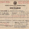 "Stanley J Donaldson's (Sr.) discharge from the U.S. Naval Reserve Force on 29 April 1921 with a rating of Electrician 2c. ""Active duty from 5-2-17 to 3-6-19.""  (KBD Collection)"
