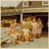 Ladies Day at Hemstead Harbour Club, Glen Cove, New York, June 1969, with my maternal grandmother, Alma Braun Hendrickson, in the seat of honor.  Her younger twin sisters, Ethel and Edith, are behind and to the right (in green and pink, respectively; KBD Collection).