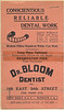 "Advertising for ""Dr. Bloom Dentist"" (Dave Bloom's dental practice), office at 169 East 34th Street (at Third Avenue), New York, NY<br /> <br /> c1930"