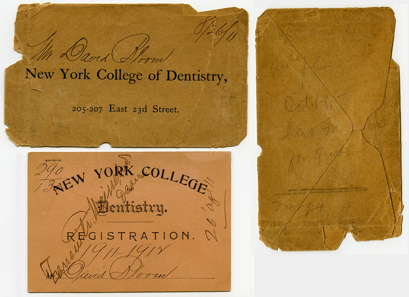 Dave Bloom's dental school registration card, August 26, 1911