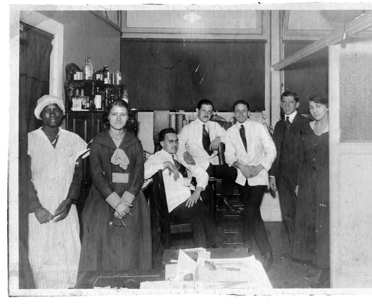 """""""Dr. Bloom, Dentist"""" (Dave Bloom's dental practice)<br /> <br /> Staff at the office at 147 East 86th street (at Lexington), opened May, 1929.<br /> <br /> ?, Lenna Bloom, ?, ?, ?, ?, ?"""