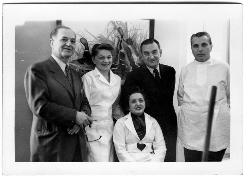 """Dr. Bloom, Dentist"" (Dave Bloom's dental practice)<br /> <br /> Staff at the office at 147 East 86th street (at Lexington), opened May, 1929.<br /> <br /> David Bloom, ?, Hannah Hirschmann, Oscar Hirschmann , Dr. Korn"