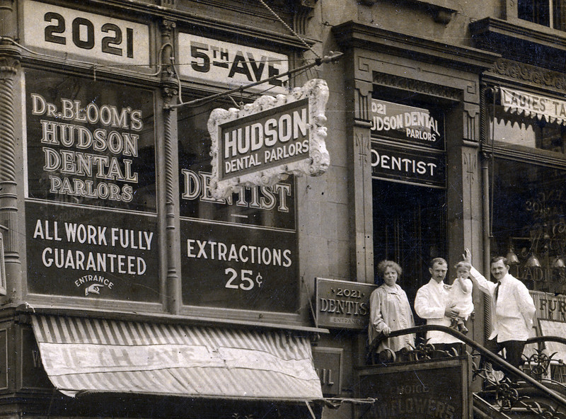 First dental office of Dave Bloom, 2021 Fifth Avenue (at 125th Street), New York, NY<br /> <br /> Jennie Hurwitz, Frank Bloom, Robert Bloom, Dave Bloom<br /> <br /> ca 1916