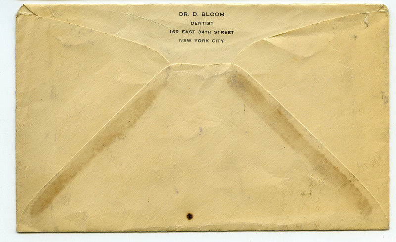 "Envelope for ""Dr. Bloom, Dentist"" (Dave Bloom's dental practice) at 169 East 34th Street, NY, NY"