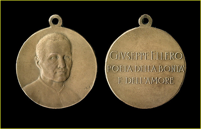 ELLERO MEDAL.<br /> <br /> Bronze medal, 3 cm in diameter. Struck in honor of Monsignor Giuseppe Ellero (1866-1825). The Obverse shows a portrait of Giuseppe Ellero; The Reverse is inscribed: 'GIUSEPPE ELLERO, POETA DELL BONTA' E DELL'AMORE' (Translation: 'GIUSEPPE ELLERO, POET OF GOODNESS AND LOVE'.<br /> <br /> The medal was issued most likely after his death in 1925, possibly in conjunction with the dedication of a bronze statue in his honor by the Province of Udine.