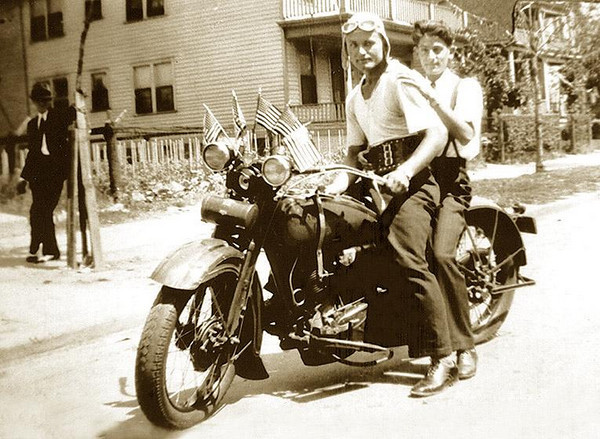 RAY ELLERO (1912-2004),  on his 1930 Harley-Davidson Motorcycle (Dual Headlight, 2-cam V-Twin Flathead),  with unidentified friend who lived down the street., Photograph taken in Detroit, Michigan.  ca. 1932.
