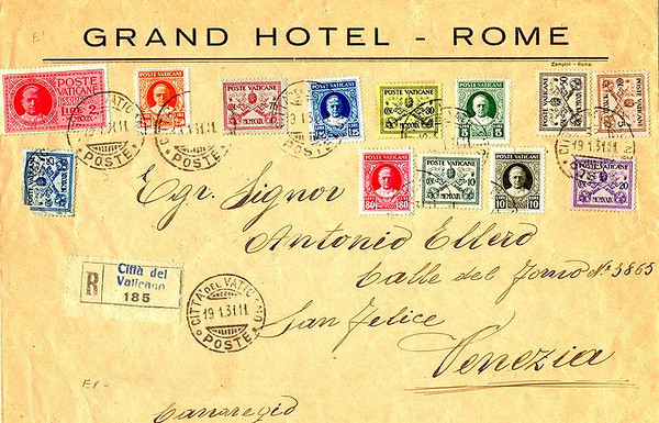 Stamped envelope sent from Giuseppe M. Carmen at the Grand Hotel, Rome, to ANTONIO ELLERO, Son of Celistino Ellero (1840-1937) and Angelina Picili. Brother of Giovanni (1878-1948), Pietro (Killed in 1918, WW1), Celistino, and Francesca.
