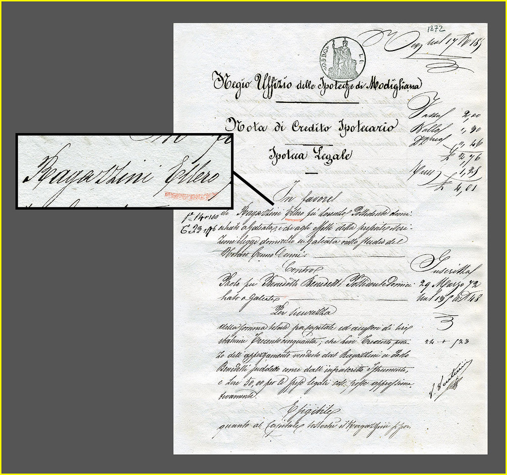 Ellero vs. Benedetti. 2 pg. Modigliana Court Document with judgment in Favor of Ragazzini Ellero of Galeata, against Paolo Benedetti of Galeata. Dated  March 4, 1872