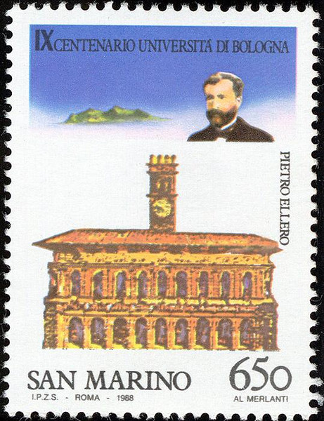 "THE ELLERO STAMP: Issued at San Marino in 1988, honoring Pietro Ellero (b. at Pordenone, Italy, Oct. 8 1833; d. at Rome, 1933) Famous Italian Penologist, and Professor of Law. He taught at the University of Milan, and the University of Bologna (until 1889). He was appointed Deputy in the Italian Government in 1866 and Senator in 1889. He was the author of various books, and was the founder of  ""L'Archivio Giuridico"" (The Law Archives)."