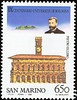 """THE ELLERO STAMP: Issued at San Marino in 1988, honoring Pietro Ellero (b. at Pordenone, Italy, Oct. 8 1833; d. at Rome, 1933) Famous Italian Penologist, and Professor of Law. He taught at the University of Milan, and the University of Bologna (until 1889). He was appointed Deputy in the Italian Government in 1866 and Senator in 1889. He was the author of various books, and was the founder of  """"L'Archivio Giuridico"""" (The Law Archives)."""