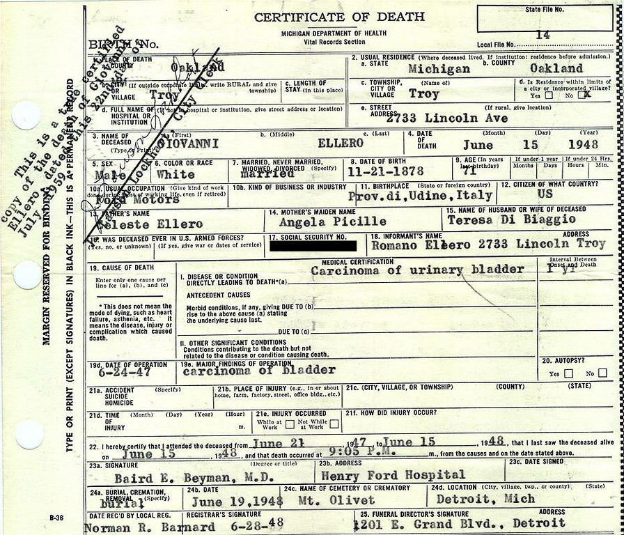 GIOVANNI ELLERO (1878-1948): Death Certificate. In the trenches of WW1 he was given unfiltered Camel cigarettes by the Red Cross. These are what he smoked all his life after the war, and most likely was a contributing factor as to the cause of death listed.