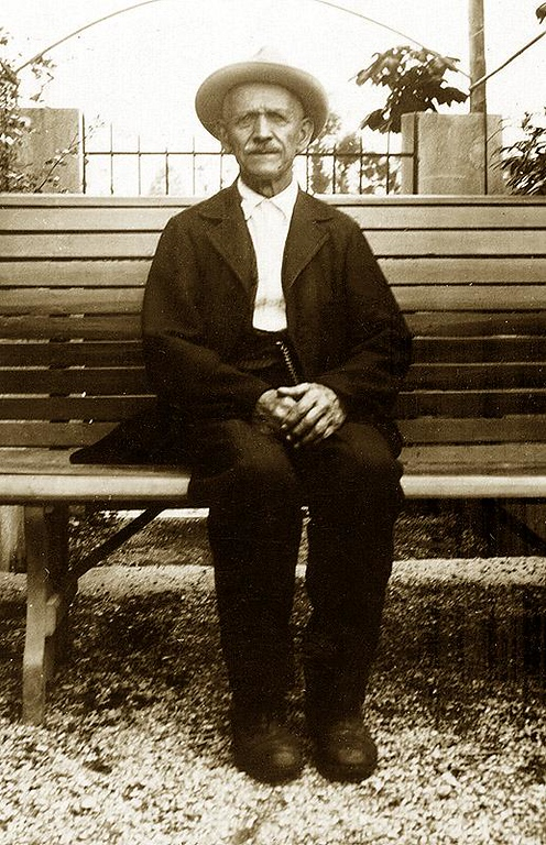 "CELESTINO ELLERO: (b. Lauk, Alta Carnia, Northeast Yugoslavia) 1840, d. Oct. 5, 1937). Son of  GIOVANNI ELLERO and LUIGIA DAMIANI.  <br /> <br /> ""Immigrated to Friuli, Prov. Udine, at 17 years of age. Marriage: Met his future wife Angelina Picili of Maiano, at the Morgant Textile Co. located in city of Gemona , where he worked as a foreman. ""He always said he married her because she was a good Spinner."" He was known to wear a long black cape that went to his feet. It would wave in the wind as he walked. He would often throw one side of the cape over his shoulder when he would walk by his future wife.""<br /> <br /> Military Service: Austro-Hungarian Army for 5 years [1858-1863]. [Lieutenant of Lancers Regiment. Battle of Solferino. (6/24, 1859). Left for the United States of America. Possible service (1864) as a private in Co. L.,15th North Carolina Vol. Inf. CSA, as 'William' Ellero, (a.k.a. 'William' Eller.)]<br /> <br /> ""After he was discharged from the Austro-Hungarian Military service in 1863, he went to Prague, Yugoslavia, where he and three Pagnutti brothers (Giovanni, Giuseppe, & Jacomo) built a large bridge across the Hobrovak River, which still stands today. All of their names are engraved on each of the four pillars that support the bridge. They were all huge men, Celestino being the shortest at 6' 4"". After construction was completed in Prague, each man went his own way, [and Celestiino Ellero later went to America]. The Pagnutti family became farmers (and are still to this day)."" <br /> <br /> ""On his return, he settled again in Friuli, where Celestino Ellero become a Carpenter, specializing in bedroom furniture, and elaborate bird cages, said to have been works of art. He worked in his shop right up to the day he died at the age of 97 and 3 months."" <br /> <br /> ""He thought he needed a doctor only once in his lifetime. Dr. Martina visited him at his home, where he found Celestino in the kitchen squeezing tomatoes one in each of his large hands, over a cauldron, making soup. The doctor decided Celestino looked better than he did, so he left! Years later when he died, the same doctor came to certify his death, and this is what he wrote on the 'Death Certificate': Causo Di Morte (Cause of Death), ""Tropp Rilasatto"" (Too Relaxed). ""Dimenticato Di Resarare"" (Forgot to Breath), i.e. Natural Causes."" <br /> <br /> ""At his home in San Tomaso, he was extremely respected as a ""Authority"", and people would come to him for advise on just about everything."""
