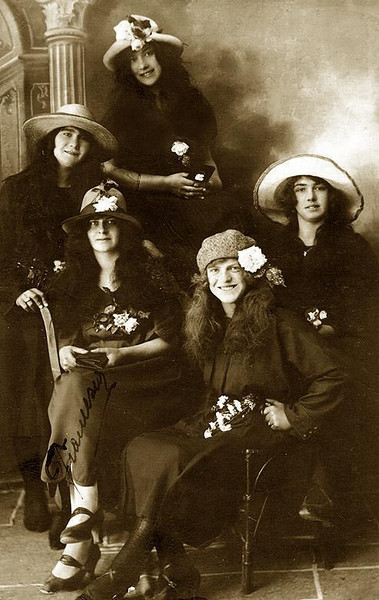 FRANCESCA ELLERO [ Seated lower left, holding purse] with her friends in Italy. Only daughter of  Celestino Ellero (1840-1937) and Angelina Picili.  ca. 1910