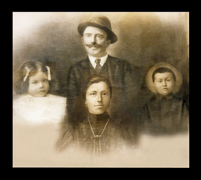 GIOVANNI ELLERO (1878-1948) with his wife Teresa (Di Biaggio) Ellero (1877-1965), daughter Maria [ne: Cellotti] (1909-2007), son Pietro (1906-1994).