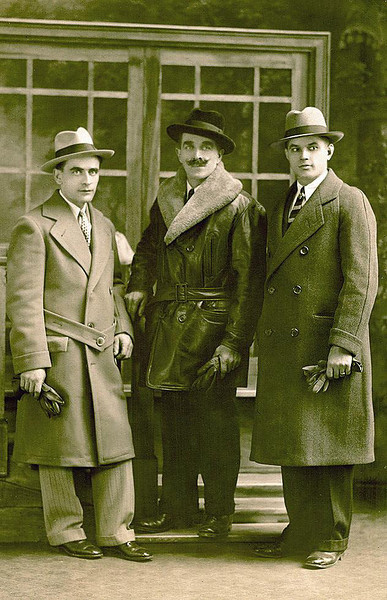 L to R: ANGELO ELLERO*,  GIOVANNI ELLERO (Brothers. Sons of Celestino Ellero, 1840-1937, and Angelina Picili), EMILIO MORAS (Border). <br /> <br /> Photograph taken at the 'Westminster Studio', 1237 Westminster, Corner of Cardoni Ave., Detroit, Michigan.<br /> <br /> This photo was believed taken on the arrival of Angelo Ellero from Italy on  March 2, 1924, at the age of 25. <br /> <br /> *ANGELO ELLERO (b.  Nov. 19, 1899; d.  Sept. 1958)