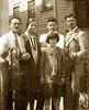 L to R: GIOVANNI ELLERO (1878-1948)  with his wife Teresa (Di Biaggio) Ellero (1877-1965), daughter Adelia [ne Lombardi] (1918-2004), sons Romano (1912-2004), and Pietro (1906-1994). Taken in front of their home in Detroit, Michigan. ca. 1928.
