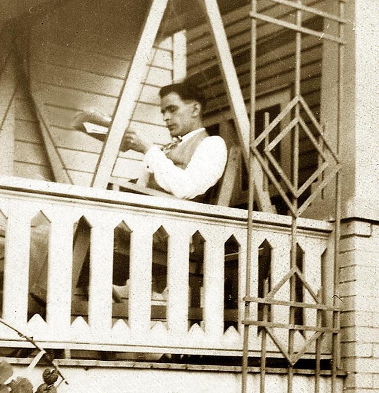 ANGELO ELLERO (1899-1958) son of Celestino Ellero, 1840-1937, and Angelina Picili. Reading the paper in Detroit. ca. 1925