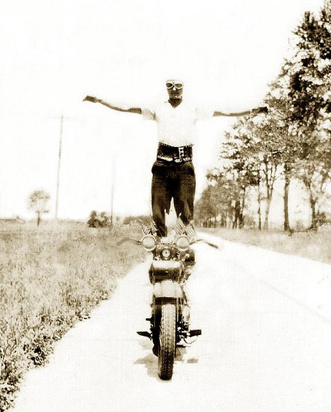 RAY ELLERO (1912-2004), on his 1930 Harley-Davidson Motorcycle (Dual Headlight, 2-cam V-Twin Flathead) Photograph taken on 8 Mile Road, Detroit, Michigan. ca. 1932.