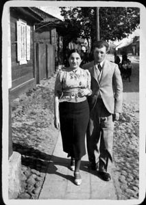 "Mendel & Frieda Feldman  ""Sweet hearts Strolling in Sokolow Podlaski Poland"" 1937 - Before WW II Scanned photograph restored with Photoshop"