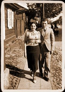 """Sweet hearts Strolling""   in Sokolow Podlaski Poland""Mendel & Frieda Feldman  1937 - Before WW II Scanned photograph restored and sepia toned with Photoshop"