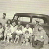 "1938 - FL Voas gathering - Evelyn ""Tiny"", Clarence ""Dick"", Catherine holding Marjorie, Gma Pearl and Gpa Frank holding Don, Joyce ""Jack"" holding JoAnn, Robert ""Bob"" and Will ""Bill"""
