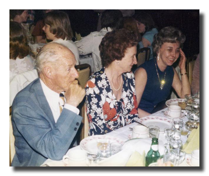 Leslie & Ethel (Brodeur) Carlton with Jane (Lord) Gagan at Cherly (Hall) Gosselin's wedding, May 8, 1976.
