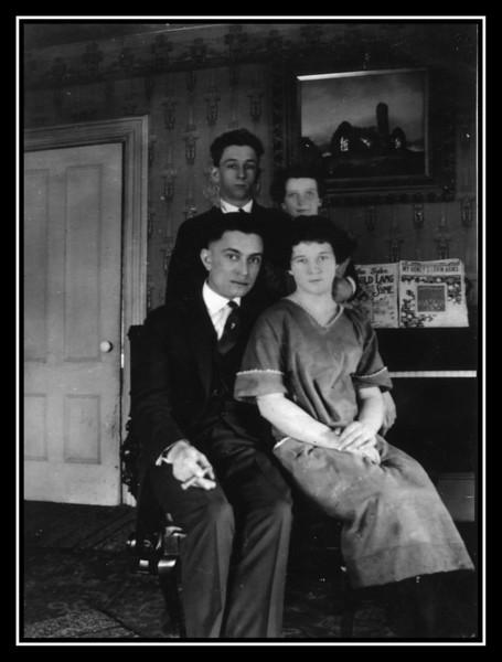 "Back: Joseph Harold Brodeur & unknown.<br /> Front: Unkown & Evelyn ""Pearl"" Brodeur, 1923."