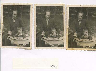 Mendel Feldman and Fred Feldman in San Gilgal camp in Austria for children's rehabilitation; Mendel was 70-80 pounds when he left Russia.  September 1946