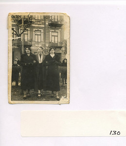 "Frieda Altman and 2 friends (Yitka Vloss on left; Frieda; and Elke Rosenstein on right)  in Sokolow Podlaski also see tape 11 at 20:25  Also see tape 11 at 39:26 that shows Elke's picture on a US Holocaust Museum ""passport"""