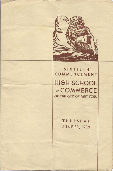 1939 High School of Commerce Commencement program page 1