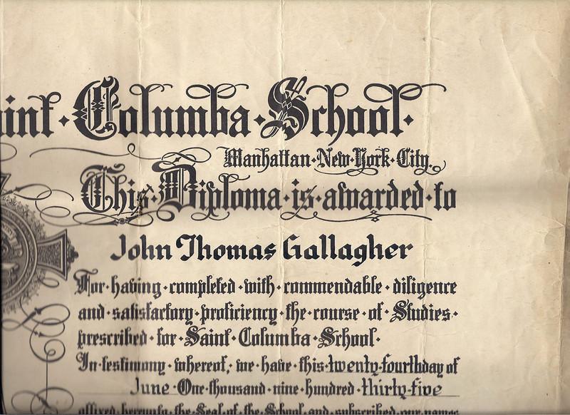 1935 St Columba diploma John Gallagher