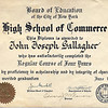 1939 High School of Commerce Diploma