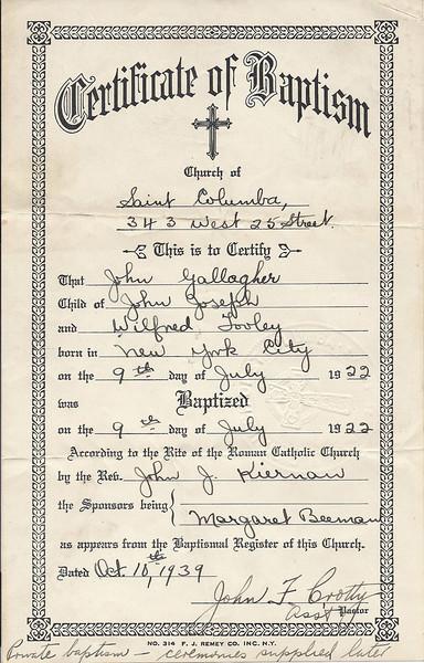 1922 John Gallagher Baptism Certificate
