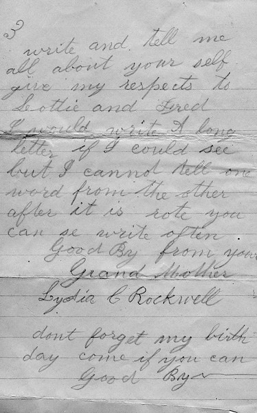 Letter from Lydia C. Rockwell to Granddaughter Lydia
