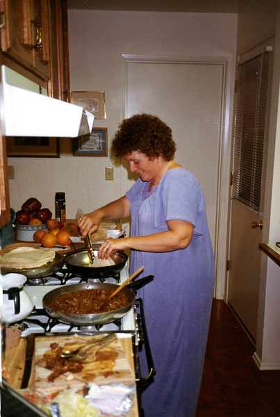 Shirley making dinner