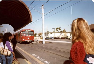 Kerri, waiting for the Tijuana Trolley