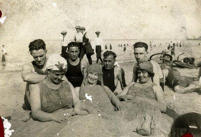 Fun in the sand. Bill Foote back right.