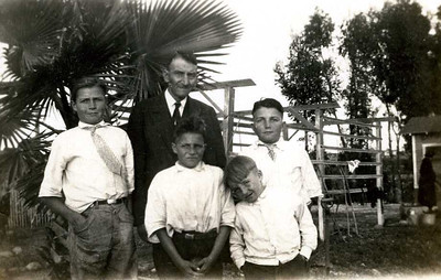 William H. Foote, Jr. with his boys in California: Carl, Dwight, Glenn and Lyle