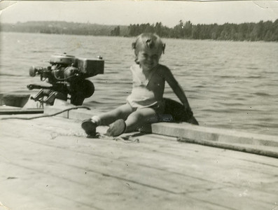 Jeanette, age 2, at John Foote's camp in Maine