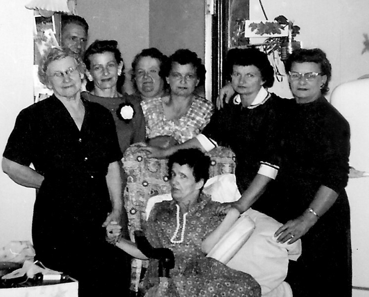 Margaret Cunningham and seven of her children - 1961