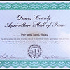 Dawes County Agriculture Hall of Fame certificate