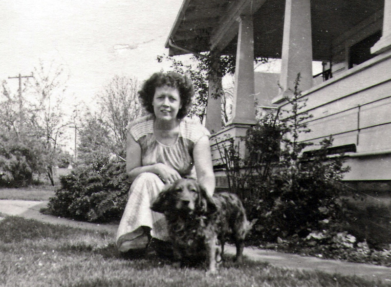 Ethel Galey Pond.  Date and location of photo are not yet known.  Cousin Jon Blosser says the dog's name was Rusty.