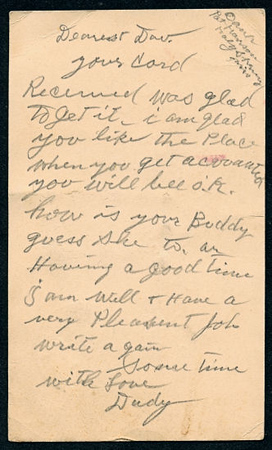 Post Card from Walter Diggs Gean (W. D. Gean) to Evelyn Mae Gean (Sparks) Address side. Lo  Res.