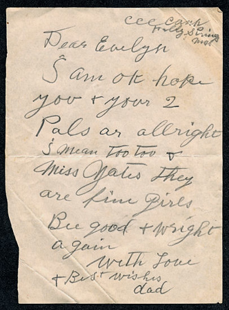 Note from Walter Diggs Gean (W. D. Gean) to Evelyn Mae Gean (Sparks) Date unk; perhaps 1941. Lo Res.