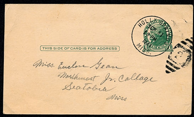 Post Card from Walter Diggs Gean (W. D. Gean) to Evelyn Mae Gean (Sparks) 1941 Address side. Lo Res.