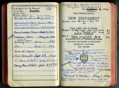 Gean Family Handwritten Lineages - Evelyn Gean Bible
