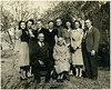 "Walter Diggs Gean Family 1945<br /> <br /> (Year is approximate, later than May 28, 1943<br /> as Evelyn has a wedding ring). My guess: 1949<br /> <br /> From back left:<br /> <br /> Frances Ruth (Wills)(Johnston)(Beene)<br /> Mary Elizabeth (Poteete)<br /> Albert Dhu Gean<br /> Eva Lois (Myers)<br /> David Alton Gean<br /> Evelyn Mae (Trenor)(Sparks)<br /> Alberta Bell<br /> William Ray Gean, Sr.<br /> <br /> Walter Diggs Gean<br /> Roxie Ann Pears (Gean)<br /> <br /> Walter Woodrow (""Woodie"") is not present."