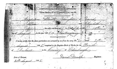 Birth of Magdalena Allan, Aug. 12, 1858, Newbattle, Scotland